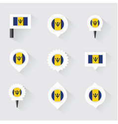Barbados flag and pins for infographic and map vector
