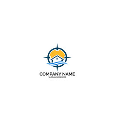 beach house logo design template vector image