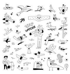 birdwatching birds widlife doodles icon vector image