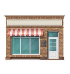 Brick store building facade vector