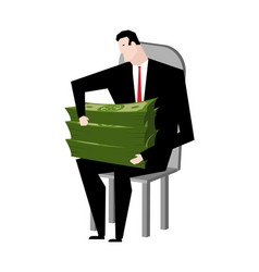 businessman fondling money boss and bundle of vector image