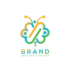 Butterfly infinity color logo vector
