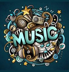 Cartoon cute doodles music word colorful vector