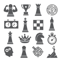 chess icons set on white background vector image