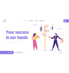 Choice way and doubts in business life website vector