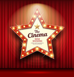 cinema theater sign star shape red curtain light vector image