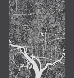 City map washington monochrome detailed plan vector