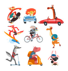 collection funny animal characters using vector image