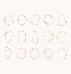 collection realistic golden geometric frame vector image