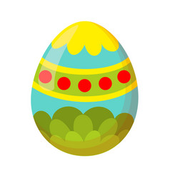 Colorful cartoon painted easter egg vector