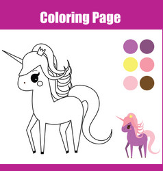 coloring page educational children game unicorn vector image