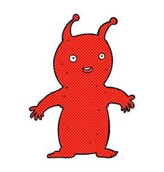 Comic cartoon happy little alien vector