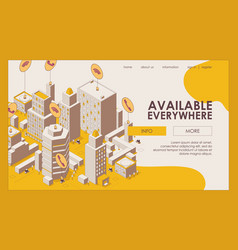 concept landing page with city full calls wi vector image