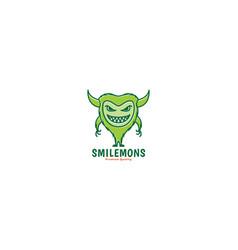 Cute cartoon monster happy green smile fat logo vector