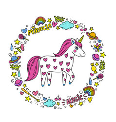 cute handdrawn unicorn unicorn and magic stuff vector image
