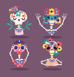 day dead skeletons flowers characters vector image