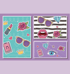 decoration fashion patches banner set style vector image