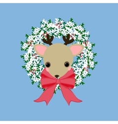 Deer on the wreath vector image