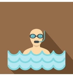 Diver with scuba icon flat style vector image