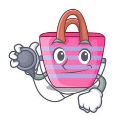 Doctor cartoon on red shaped beach bag vector