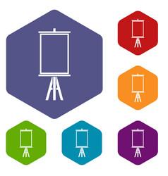 Easel icons set hexagon vector