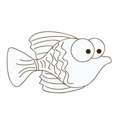 figure happy fish cartoon icon vector image