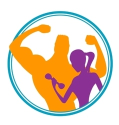 Fitness club logo or emblem with woman and man vector image