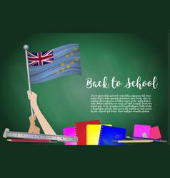 Flag of tuvalu on black chalkboard background vector