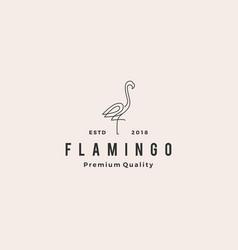 Flamingo logo line outline monoline icon vector
