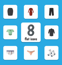 flat icon garment set of casual foot textile vector image
