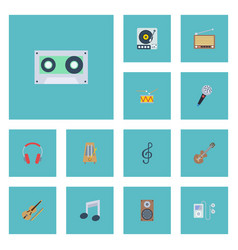 Flat icons quaver karaoke audio box and other vector