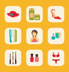 flat icons set with a central woman surrounded by vector image