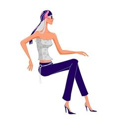 funky stylish woman vector image