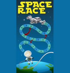 game template with astronaut and spaceship vector image