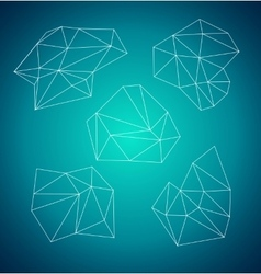 Geometric abstract low-poly shape Blue background vector