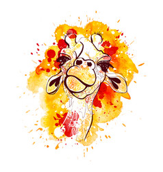 giraffe for t-shirt portrait vector image