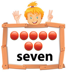 girl showing number seven banner vector image