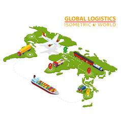Global logistic isometric vehicle infographic vector