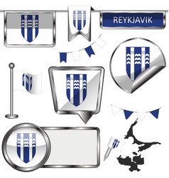 Glossy icons with flag of reykjavik iceland vector