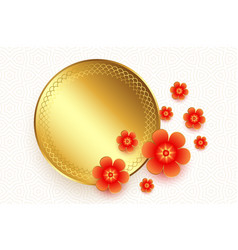 Golden frame with flowers chinese style background vector