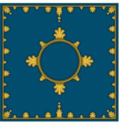 golden pattern on blue in classical style vector image