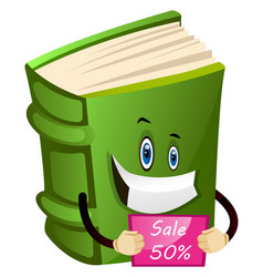 Green book holding a cupon on white background vector