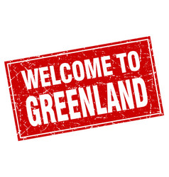 Greenland red square grunge welcome to stamp vector