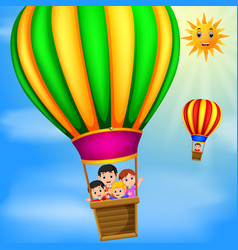 Hot air balloons flying with happy kids at daytime vector