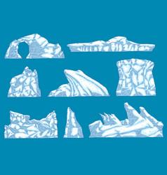 Ice hummock polar ice mountain glacier icon vector