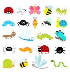 Insect icon set lady bug mosquito butterfly bee vector