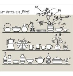 Kitchen utensils on shelves 6 vector image