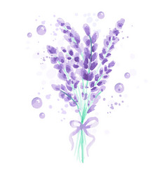 Lavender background with flowers watercolor vector