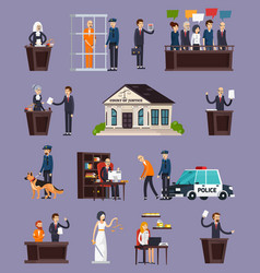 Law and justice orthogonal icons set vector