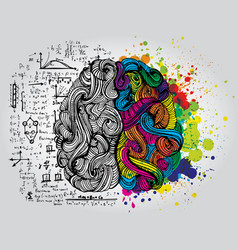 Left and right human brain creative half and vector